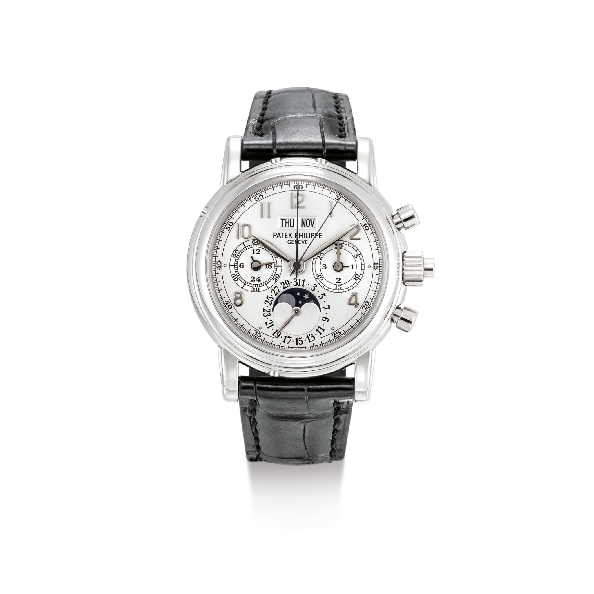 "View full screen - View 1 of Lot 2099. PATEK PHILIPPE | REFERENCE 5004, A WHITE GOLD PERPETUAL CALENDAR SPLIT SECONDS CHRONOGRAPH WRISTWATCH WITH MOON PHASES, 24 HOURS AND LEAP YEAR INDICATION, CIRCA 2007 | 百達翡麗 | ""型號5004 白金萬年曆追針計時腕錶,備月相、24小時及晝夜顯示,機芯編號879799,錶殼編號4040027,約2007年製""."