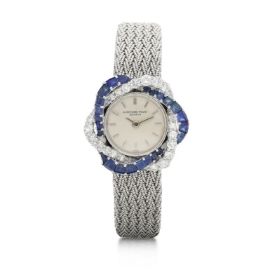 View 1. Thumbnail of Lot 8061. Audemars Piguet | Reference 9566, A white gold, diamond and sapphire-set bracelet watch, Circa 1960 | 愛彼 | 型號9566   白金鑲鑽石及藍寶石鏈帶腕錶,約1960年製.