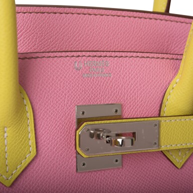 View 7. Thumbnail of Lot 34. HERMÈS | HORSESHOE STAMP (HSS) BICOLOR BUBBLEGUM AND LIME BIRKIN 30CM OF EPSOM LEATHER WITH PALLADIUM HARDWARE.