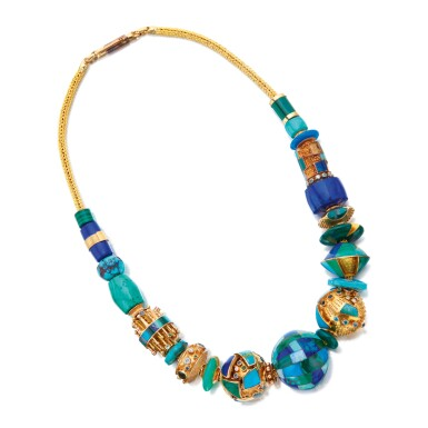 GOLD, GEM-SET AND DIAMOND NECKLACE, JEFF WISE