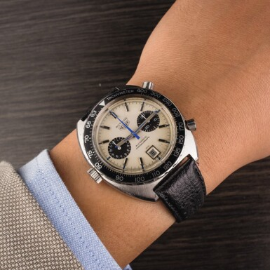 View 4. Thumbnail of Lot 18. HEUER | Autavia, Ref. 1163, A Stainless Steel Chronograph Wristwatch, Circa early 1970s.