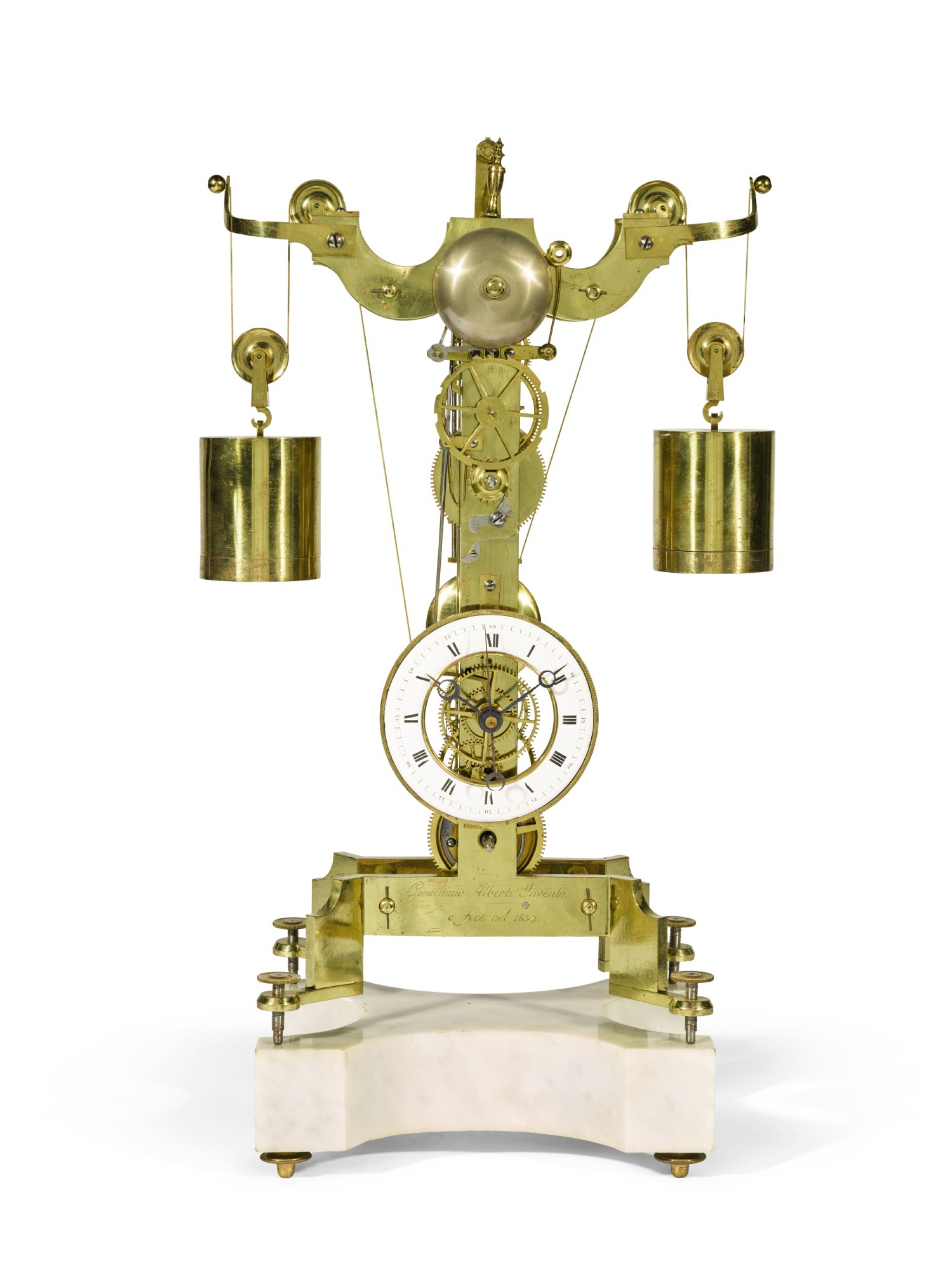 View full screen - View 1 of Lot 136. A brass skeleton clock with weight-driven constant force escapement, Gioachino Alberti, Milan, dated 1834.
