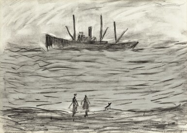 View 1. Thumbnail of Lot 168. LAURENCE STEPHEN LOWRY, R.A.   TRAWLER IN A ROUGH SEA.