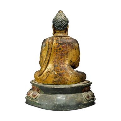 View 4. Thumbnail of Lot 44. A gilt-lacquer bronze figure of seated Buddha, 17th / 18th century.