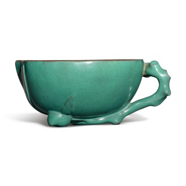 View 3. Thumbnail of Lot 26. A Yixing turquoise-enameled 'peach' cup, 19th / 20th century.