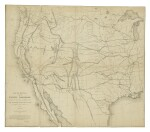 WARREN, GOUVERNEUR KEMBLE  | Map of the Territory of the United States from the Mississippi to the Pacific Ocean Ordered by the Hon. Jeff'n Davis, Secretary Of War to Accompany the Reports of the Explorations for a Railroad Route … Compiled from authorized explorations and other reliable data. [Washington, D.C., 1858] —Map of Routes for a Pacific Railroad Compiled to Accompany the Report of the Hon. Jefferson Davis, Sec. of War in Office of P.R.R. Surveys 1855. New York: Lith. of Bien, 1855