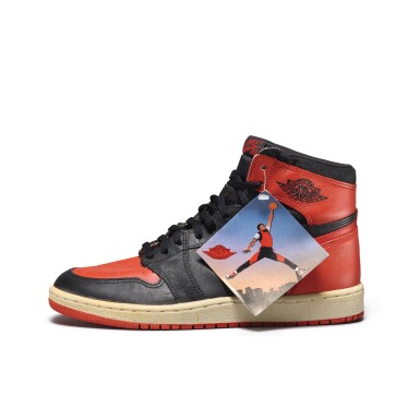 View 4. Thumbnail of Lot 7.  Peter Moore | 'Bred' Nike Air Jordan 1 High OG (1985) | Size 11.5.