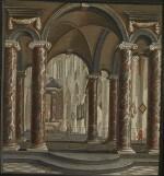 DANIEL DE BLIECK | CHURCH INTERIOR WITH MARBLE COLUMNS AND TRIPTYCHS