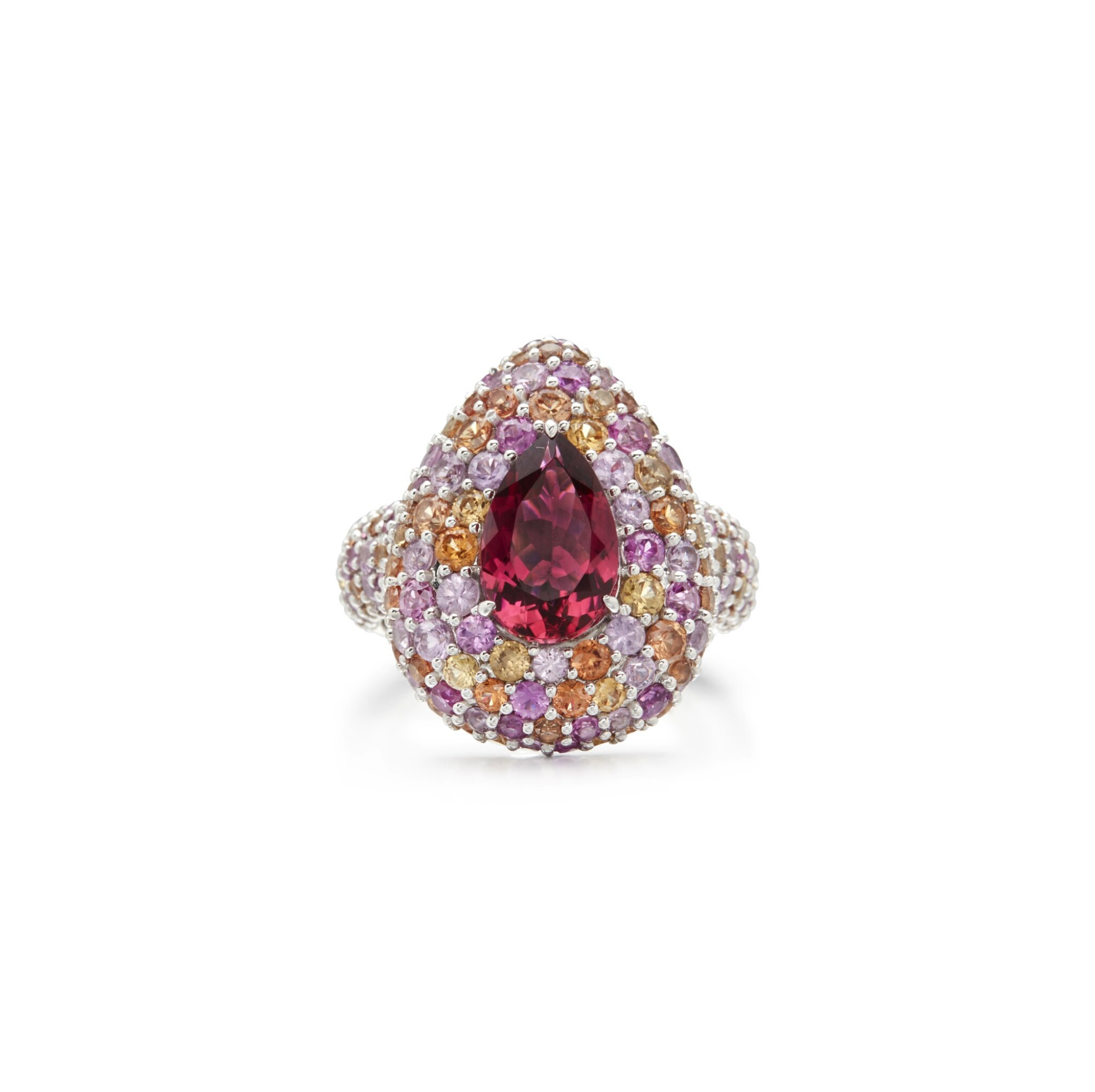 View full screen - View 1 of Lot 5. PINK TOURMALINE AND COLOURED SAPPHIRE RING.