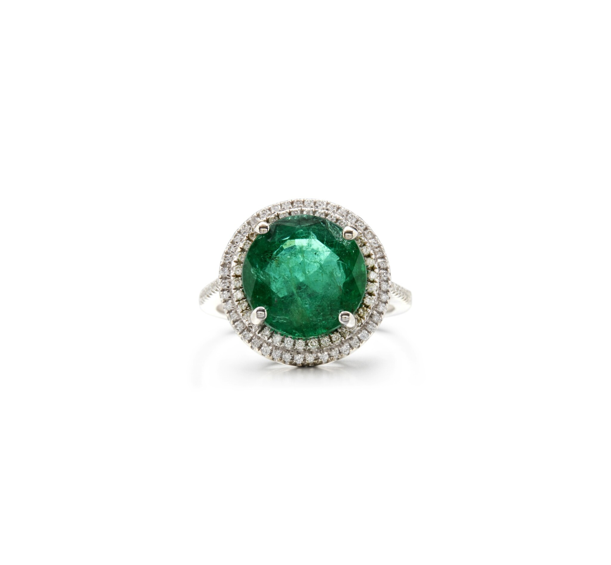 View full screen - View 1 of Lot 20. EMERALD AND DIAMOND RING.