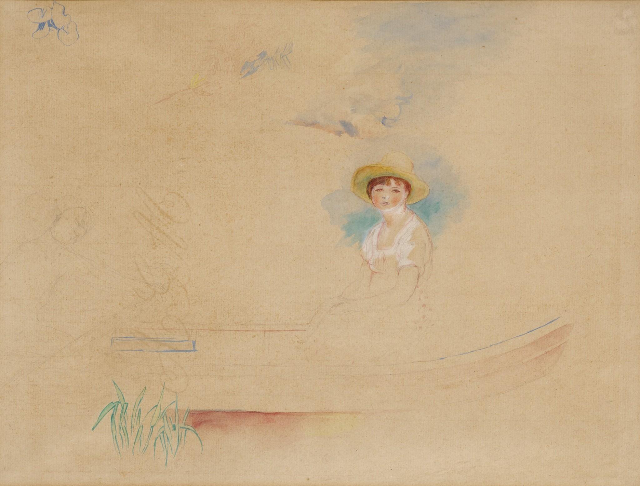 View full screen - View 1 of Lot 12. La Yole et jeune femme au chapeau de paille (Femme assise dans une barque).