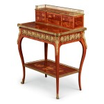 A LATE LOUIS XV GILT BRONZE-MOUNTED KINGWOOD, TULIPWOOD, AMARANTH AND MARQUETRY BONHEUR DU JOUR IN THE MANNER OF TOPINO, THIRD QUARTER 18TH CENTURY