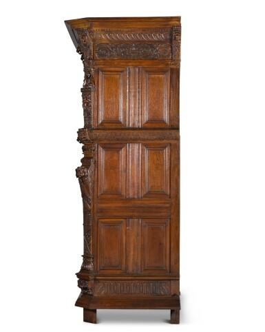 View 3. Thumbnail of Lot 5. A Flemish Renaissance style carved oak cabinet (buffet à cinq portes), probably Antwerp.