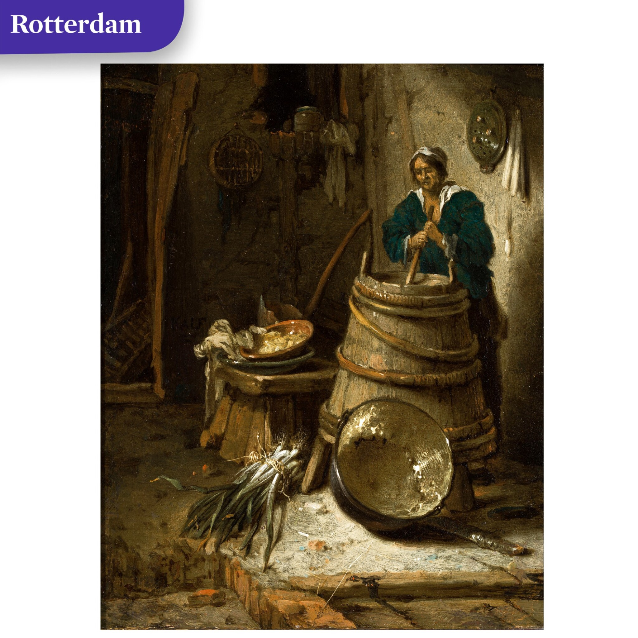 View full screen - View 1 of Lot 35. Barn interior with a woman churning butter.