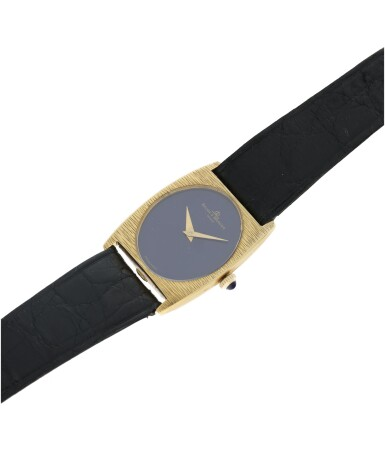 View 6. Thumbnail of Lot 1056. REFERENCE 37073 A YELLOW GOLD OVAL WRISTWATCH WITH LAPIS LAZULI DIAL, CIRCA 1980.