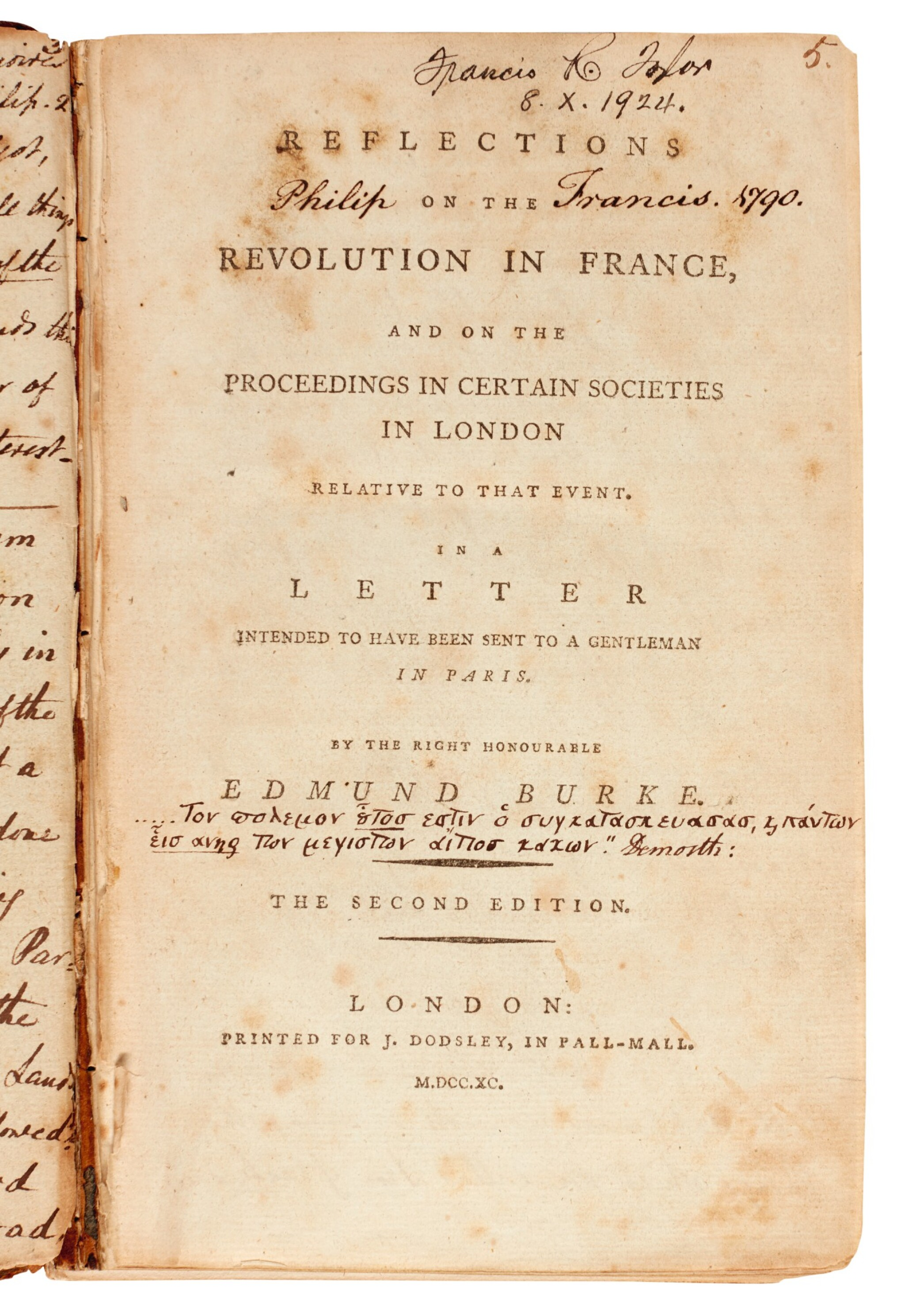 BURKE | Reflections on the Revolution in France, Philip Francis's annotated copy