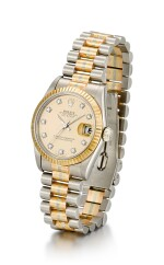 ROLEX  |  TRIDOR DATEJUST, REFERENCE 68279B,  A THREE COLOR GOLD AND DIAMOND-SET WRISTWATCH WITH DATE AND BRACELET, CIRCA 1986