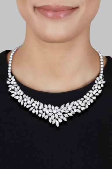 View 2. Thumbnail of Lot 37. Van Cleef & Arpels   Diamond Necklace-Bracelet Combination.