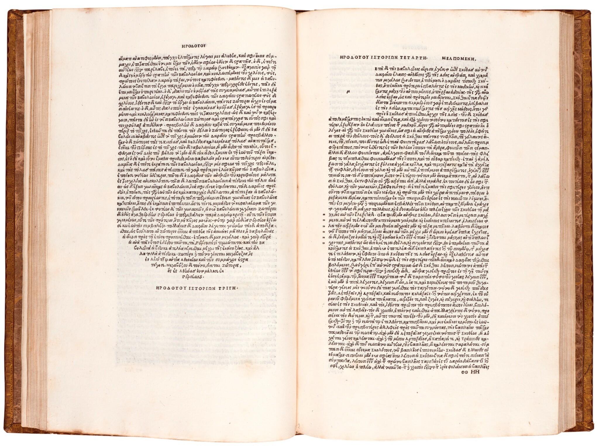 View full screen - View 1 of Lot 2. Herodotus. Libri novem. Aldus, Venice, 1502. nineteenth-century calf gilt.