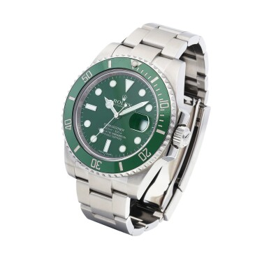 """View 2. Thumbnail of Lot 8027. Rolex   Submariner """"Hulk"""", Reference 116610LV, A stainless steel wristwatch with date and Bracelet, Circa 2013   勞力士   Submariner """"Hulk"""" 型號116610LV   精鋼鏈帶腕錶,備日期顯示,約2013年製."""