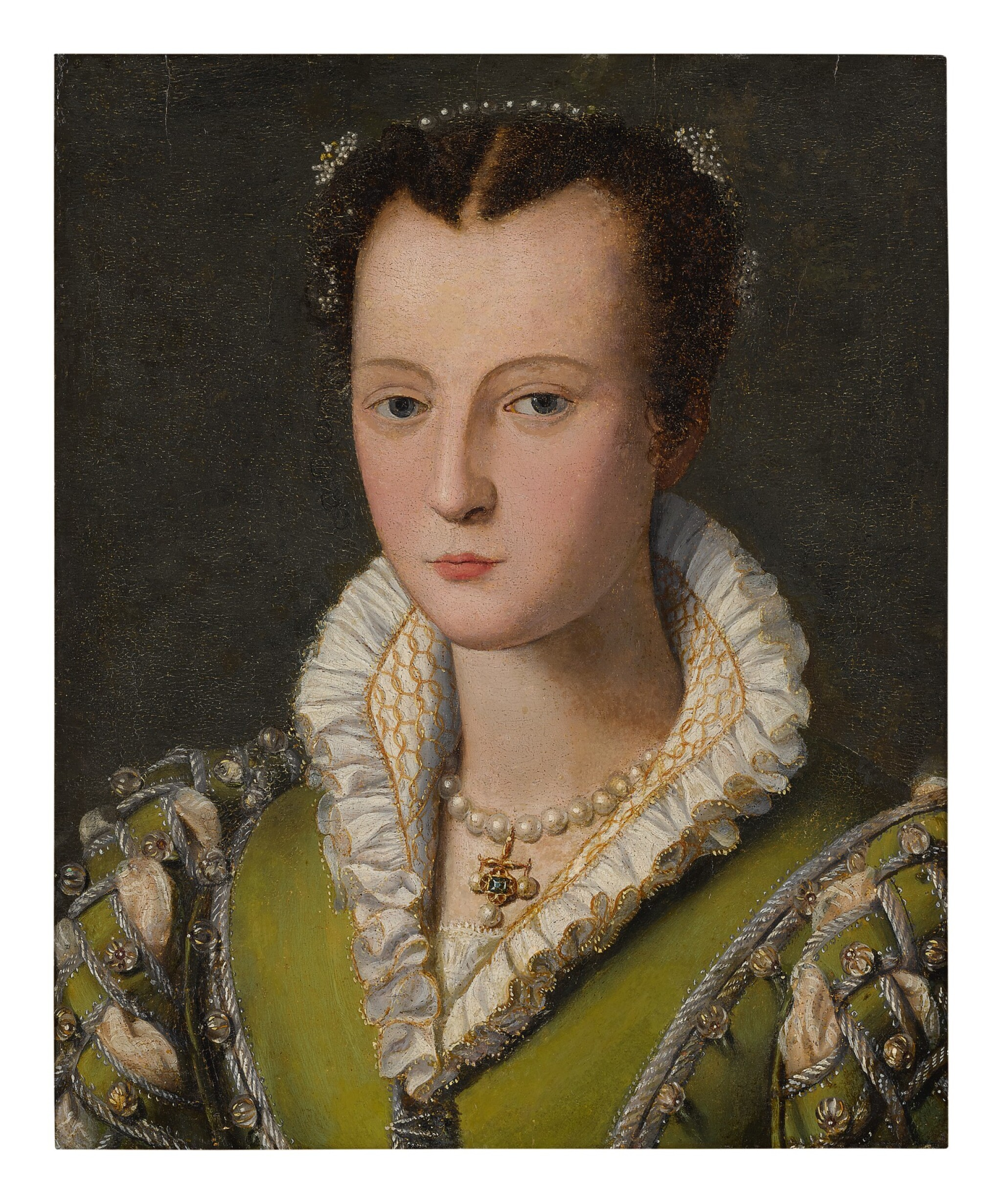 CIRCLE OF ALESSANDRO ALLORI | PORTRAIT OF A LADY, SAID TO BE A MEDICI, BUST LENGTH, WEARING A GREEN DRESS AND PEARLED NECKLACE