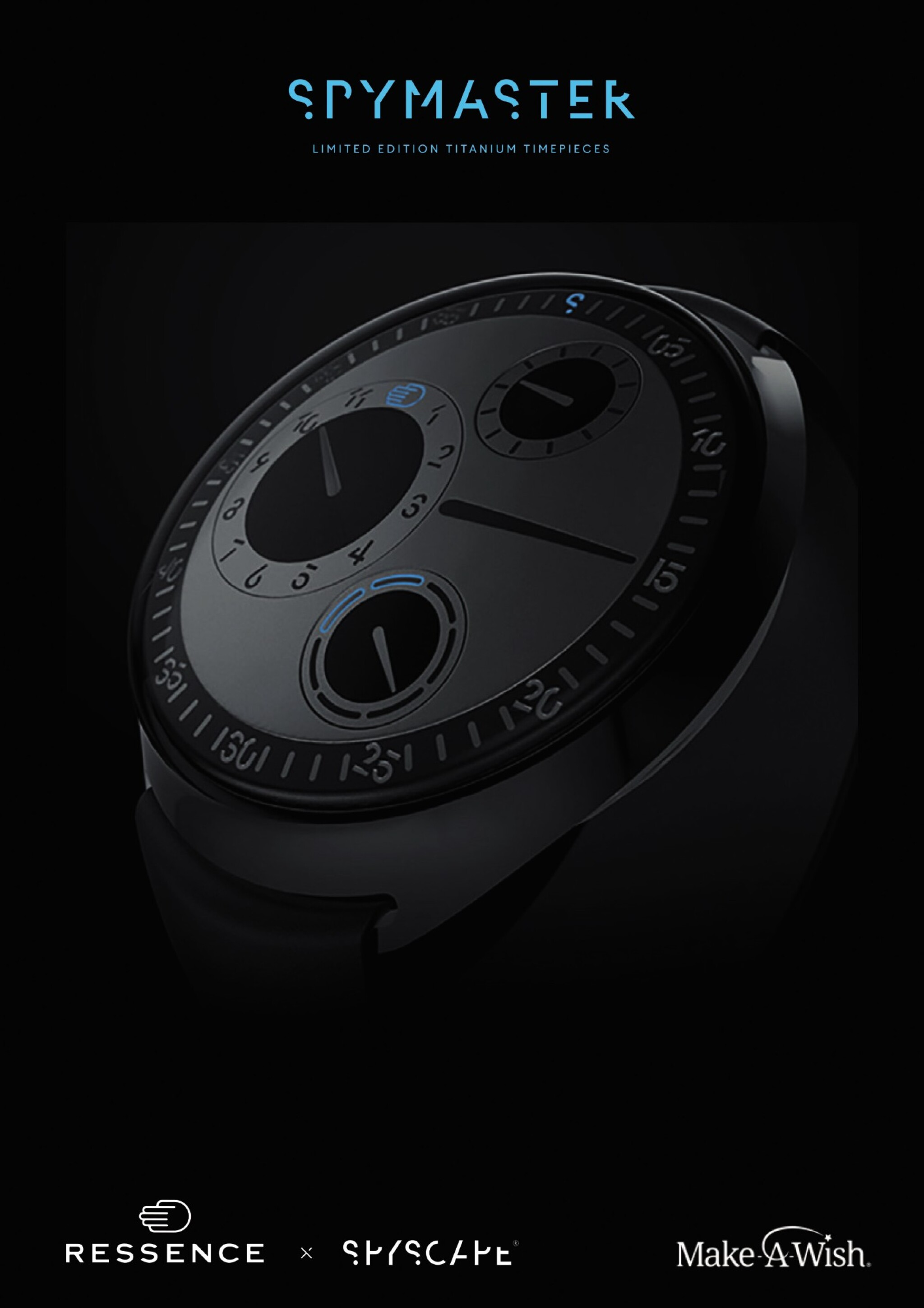 View full screen - View 1 of Lot 2251. Ressence | Spymaster, A limited edition titanium wristwatch with rotating dial and day of the week indication, with unique NFT digital artwork to celebrate its creation and authenticate it on the blockchain, sold to benefit the Make-A-Wish foundation, Circa 2021 | Spymaster 限量版鈦金屬腕錶,備迴轉錶盤及星期顯示,附帶獨一無二 NFT 非同質化代幣,備數位慶祝畫作及方塊鏈認證,為造福 Make-A-Wish 機構而售,約2021年製.