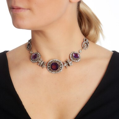View 5. Thumbnail of Lot 54. Amethyst and diamond necklace, early 19th century.