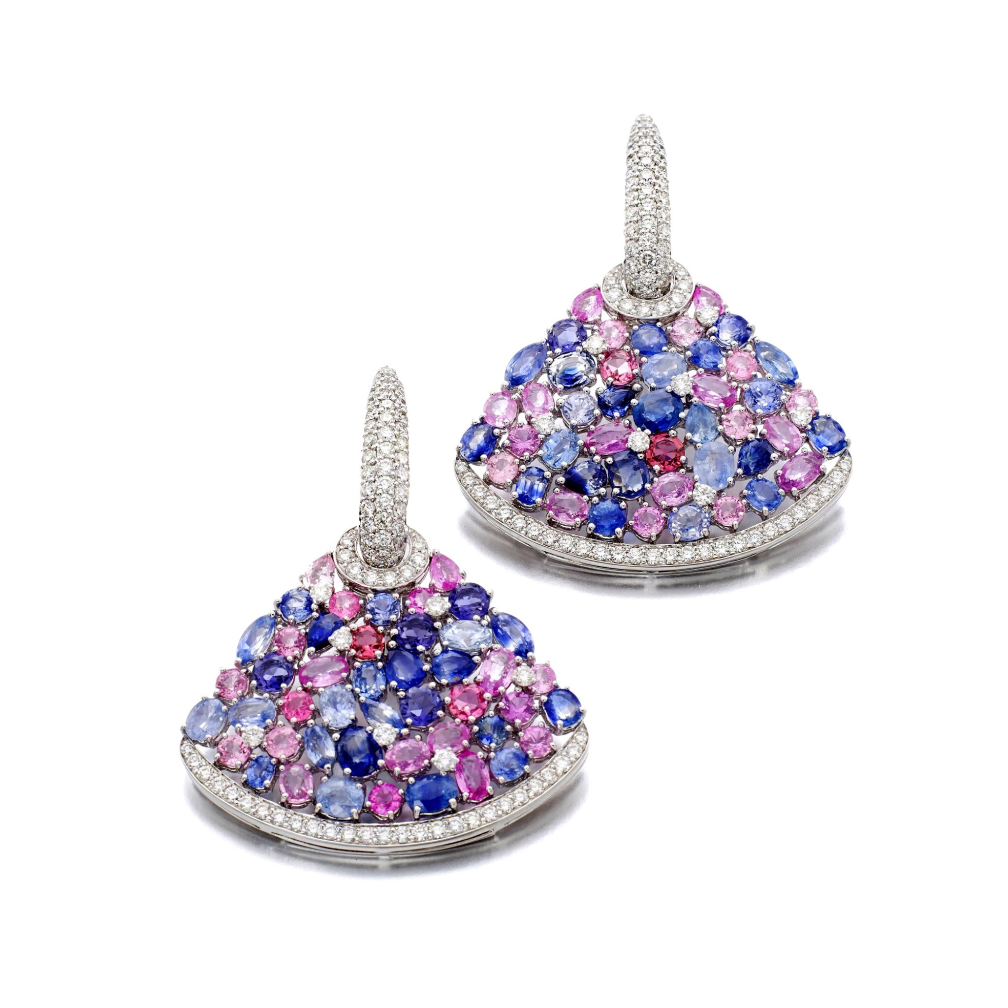 View full screen - View 1 of Lot 44. MICHELE DELLA VALLE | GEM SET AND DIAMOND EARRINGS.