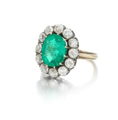 View 3. Thumbnail of Lot 9. Emerald and diamond ring (Anello con smeraldo e diamanti), 1910.