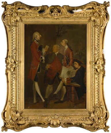 View 1. Thumbnail of Lot 57. AFTER SIR JOSHUA REYNOLDS | CARICATURE OF THOMAS BRUDENELL-BRUCE, 1ST EARL OF AILESBURY, THE HON. JOHN WARD, JOSEPH LEESON, LATER 2ND EARL OF MILLTOWN, AND JOSEPH HENRY OF STRAFFAN.