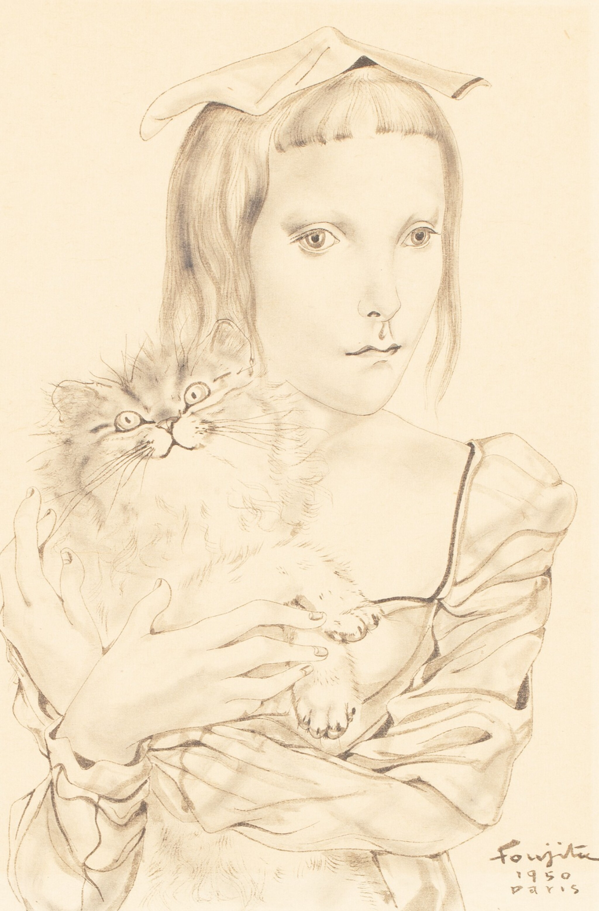 View full screen - View 1 of Lot 2. LÉONARD FOUJITA | JEUNE FILLE PORTANT UN CHAT     .