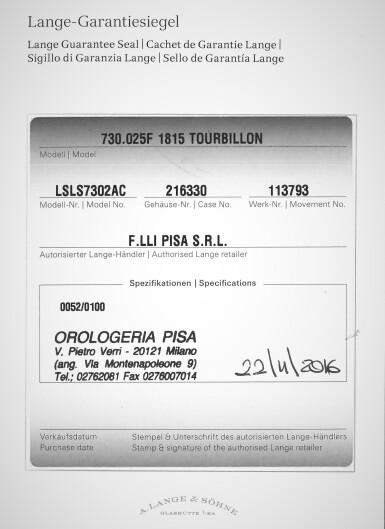 View 8. Thumbnail of Lot 297. Reference 730.025F 1815 Tourbillon  A limited edition platinum tourbillon wristwatch with zero-reset mechanism, Circa 2016.