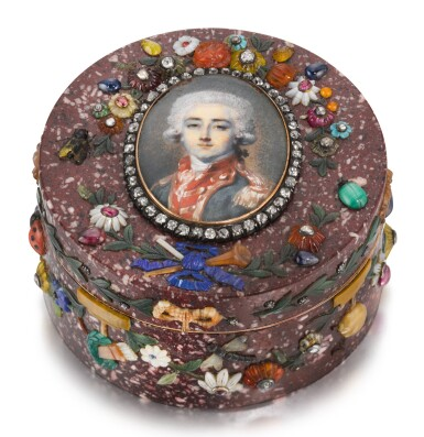 A JEWELLED AND GOLD-MOUNTED HARDSTONE APPLIQUÉ PORTRAIT SNUFF BOX, PROBABLY BERLIN, CIRCA 1770