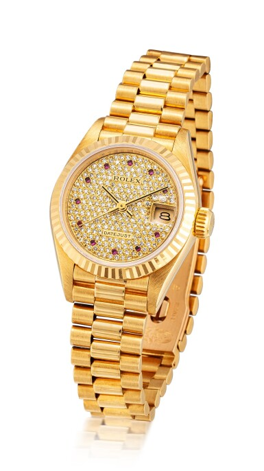 View 2. Thumbnail of Lot 8135. ROLEX   DATEJUST, REFERENCE 69178   A YELLOW GOLD, DIAMOND AND RUBY-SET WRISTWATCH WITH DATE AND BRACELET, CIRCA 1987   勞力士   Datejust 型號69178   黃金鑲鑽石及紅寶石鏈帶腕錶,備日期顯示,約1987年製.