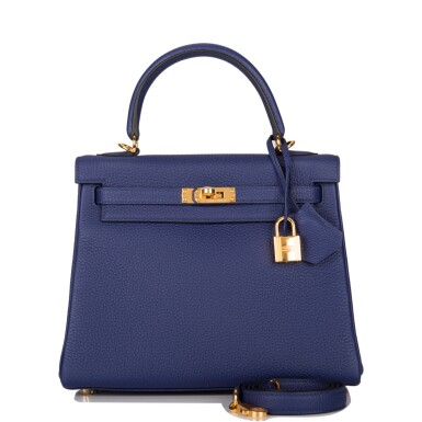 Hermès Bleu Encre Retourne Kelly 25cm of Togo Leather with Gold Hardware