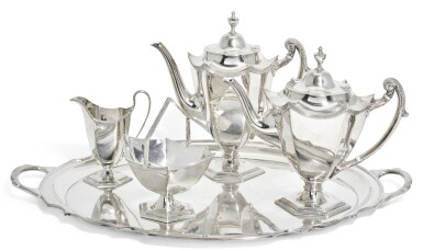 A MATCHED SILVER FOUR-PIECE TEA SERVICE AND TRAY, THE TEA SERVICE, WAKER & HALL, SHEFFIELD, 1911
