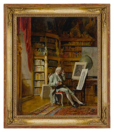 View 2. Thumbnail of Lot 7. JOHANN HAMZA | THE CONNOISSEUR IN HIS LIBRARY.