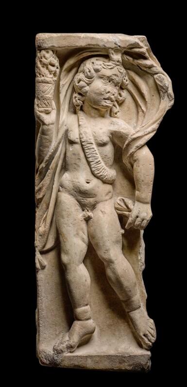 View 1. Thumbnail of Lot 87. A Roman Marble Season Sarcophagus Fragment, 3rd Century A.D..