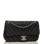 Chanel Studded Chevron Flap Bag of Black Calfskin with Silver Tone Hardware