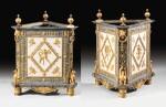 A PAIR OF WHITE AND BLEU TURQUIN MARBLE JARDINIÈRES, WITH MERCURY GILT-BRONZE MOUNTS, LATE LOUIS XVI, CIRCA 1790-1800, THE MOUNTS BY FORESTIER PROBABLY AFTER A DESIGN BY JEAN-DÉMOSTHÈNE DUGOURC, PURCHASED IN PARIS AND DELIVERED TO THE KING OF SPAIN, CHARLES IV IN 1802 | PAIRE DE CAISSES JARDINIÈRES EN MARBRES BLANC ET BLEU TURQUIN À MONTURE DE BRONZE DORÉ AU MERCURE DE LA FIN DE L'ÉPOQUE LOUIS XVI, VERS 1790-1800, LES BRONZES PAR FORESTIER PROBABLEMENT D'APRÈS UN DESSIN DE JEAN-DÉMOSTHÈNE DUGOURC, ACHETÉE À PARIS ET LIVRÉE POUR LE ROI D'ESPAGNE CHARLES IV EN 1802