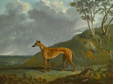 View 1. Thumbnail of Lot 191. A brindle Greyhound bitch in a landscape.