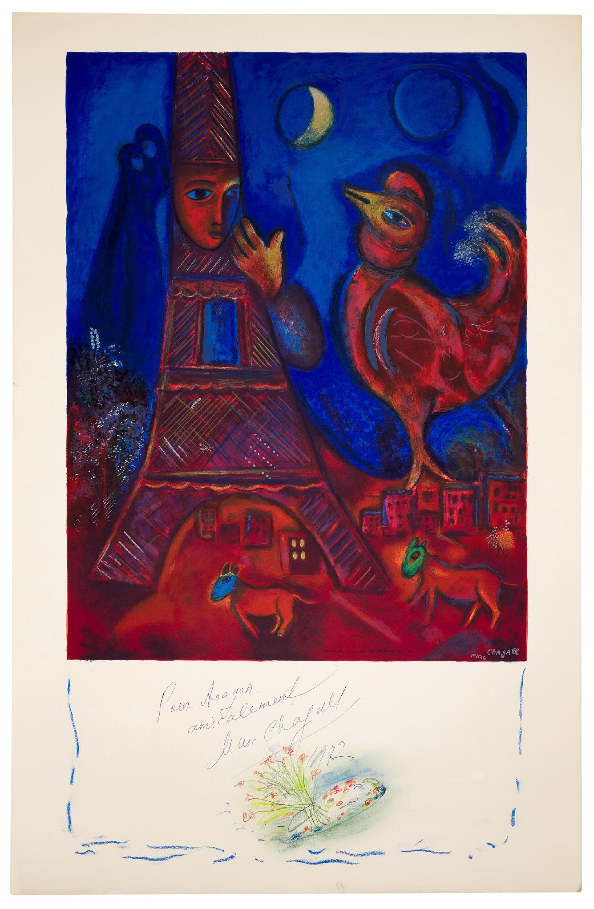 View full screen - View 1 of Lot 19. AFTER MARC CHAGALL   BONJOUR PARIS (M. CS. 43).