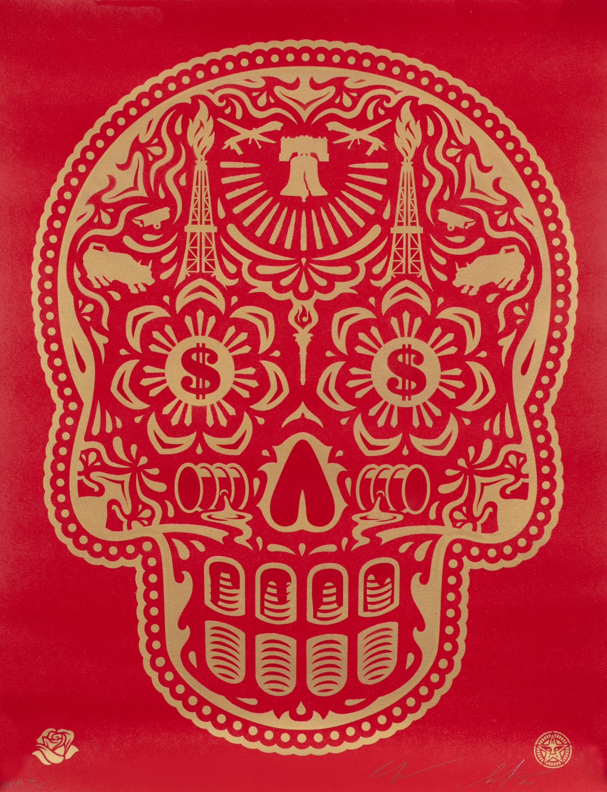 View full screen - View 1 of Lot 553. SHEPARD FAIREY (OBEY GIANT) | POWER & GLORY DAY OF THE DEAD SKULL (RED).