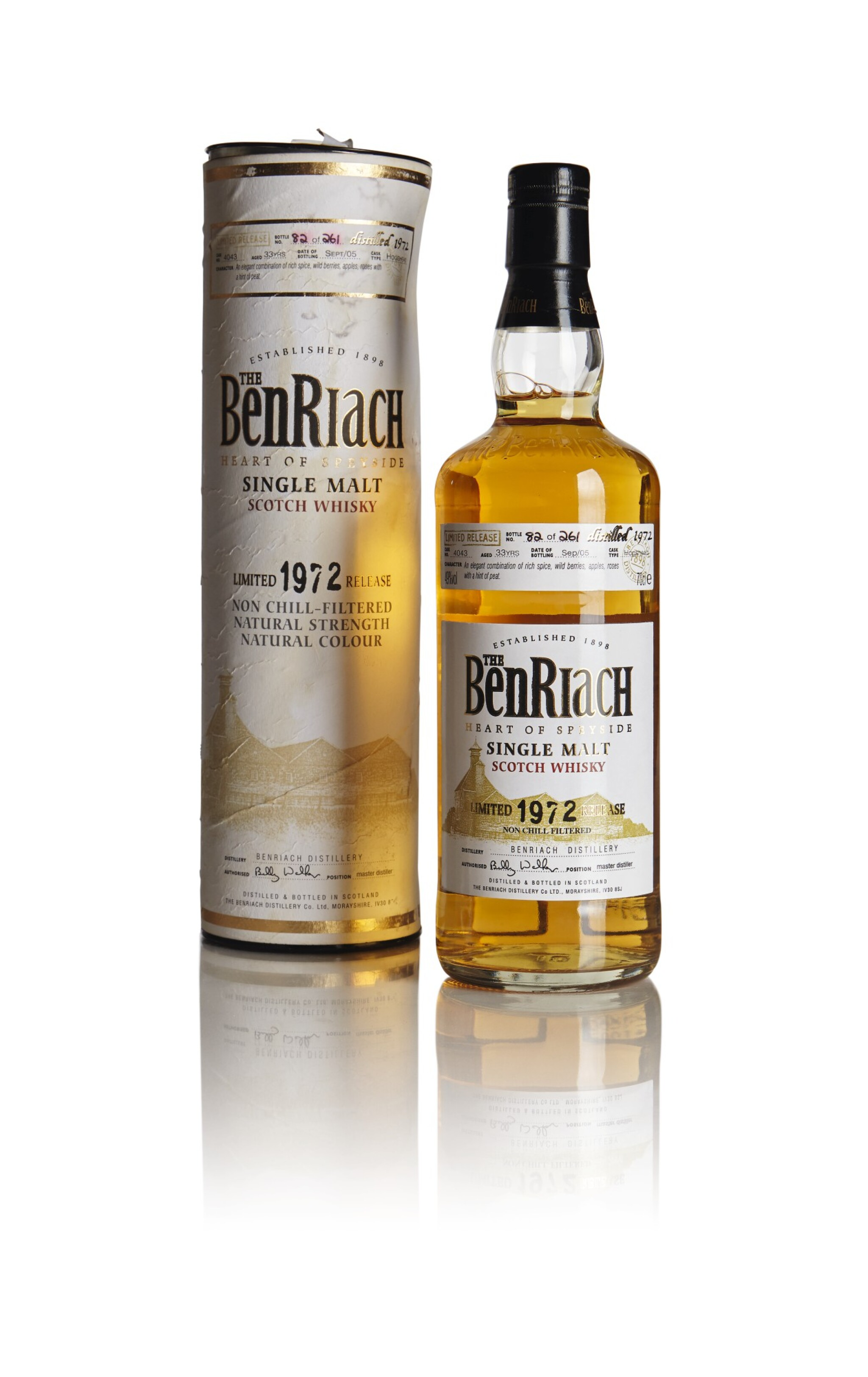 View full screen - View 1 of Lot 207. THE BENRIACH ORIGINAL BOTTLING 33 YEAR OLD 49.0 ABV 1972 .
