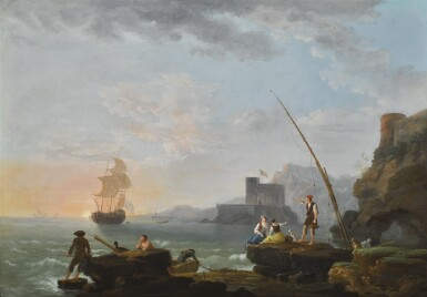 JEAN-FRANÇOIS HUÉ | Fisherman and other figures along a shoreline, a sailboat in the distance