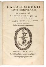 Sigonio, Fasti consulares, Venice, 1556, later calf gilt for the Collège de Grassin
