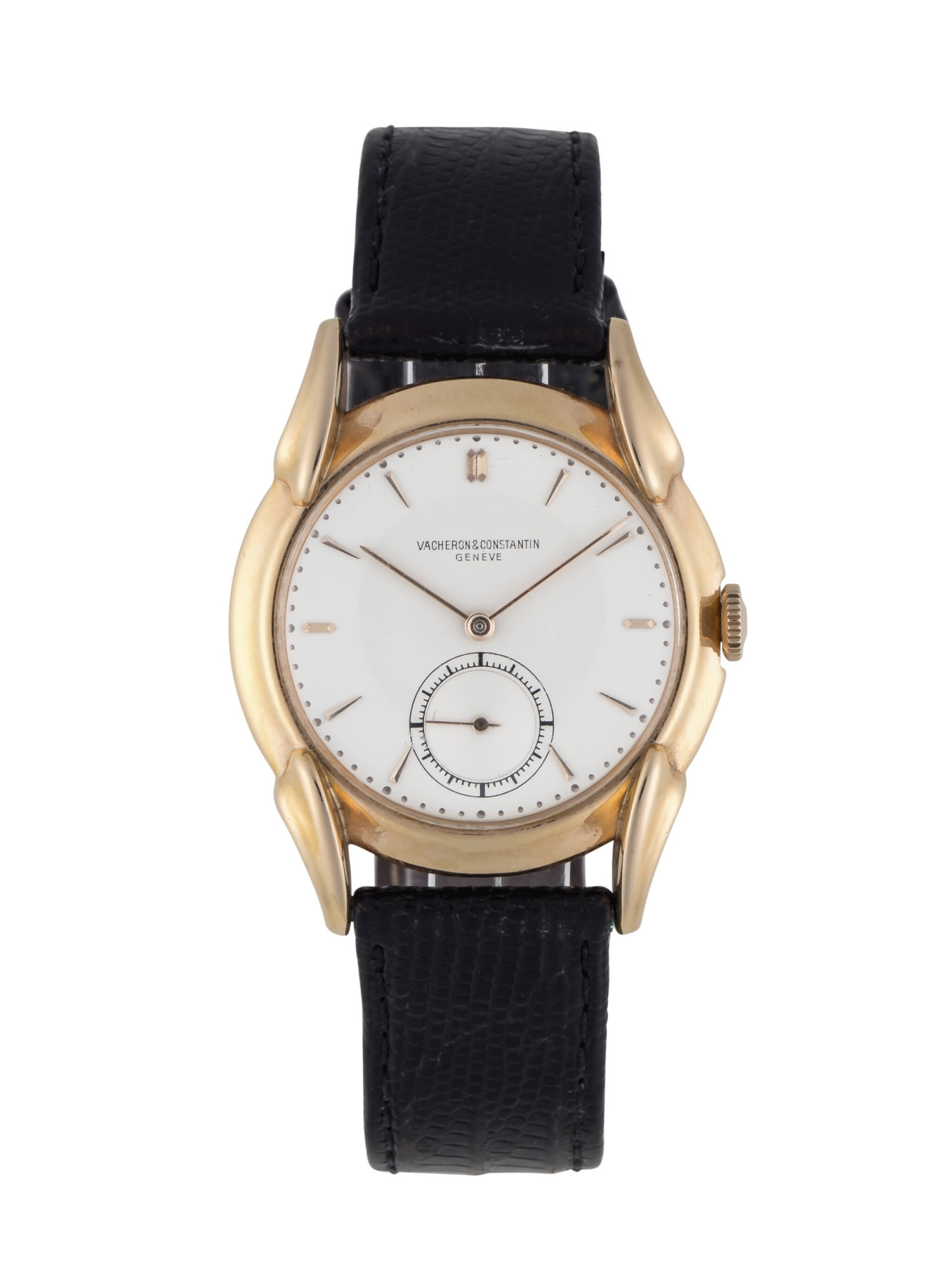View full screen - View 1 of Lot 19. VACHERON CONSTANTIN | REF 4418 YELLOW GOLD WRISTWATCH WITH FANCY LUGS CIRCA 1948.