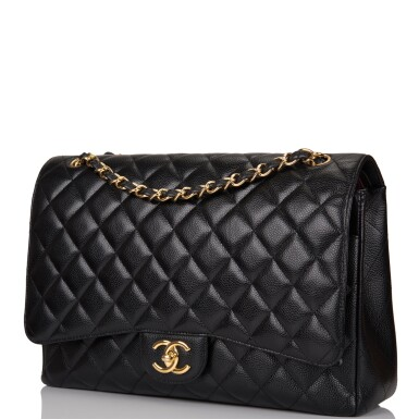 View 5. Thumbnail of Lot 60. Chanel Quilted Maxi Classic Double Flap Bag of Black Caviar Leather with Gold Hardware.