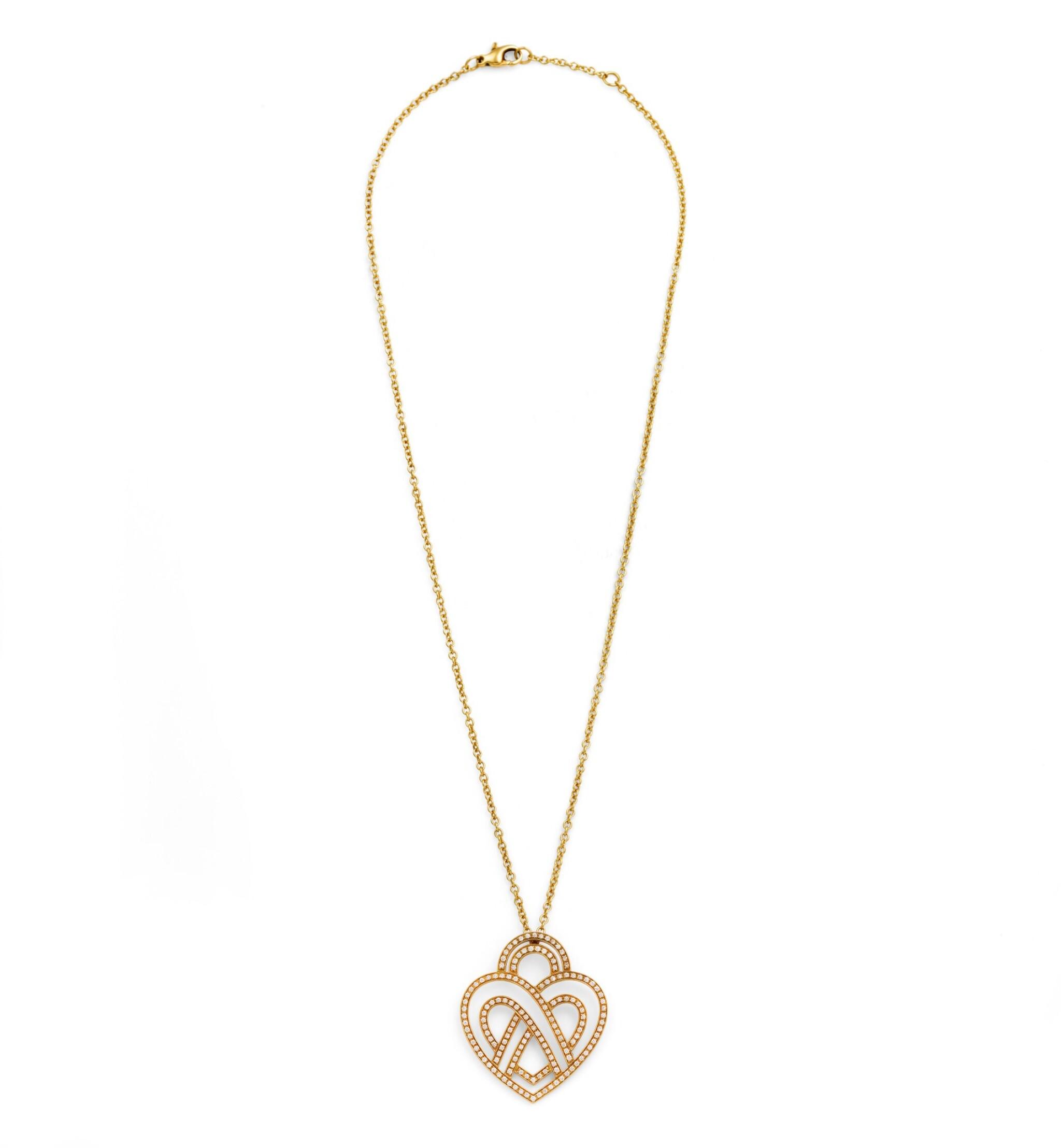 View full screen - View 1 of Lot 121. Poiray, Diamond necklace [Collier diamants], 'Coeur entrelacé'.