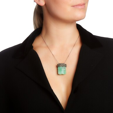 View 4. Thumbnail of Lot 56. JADEITE AND DIAMOND PENDANT NECKLACE AND AN ENAMEL AND SEED PEARL NECKLACE.
